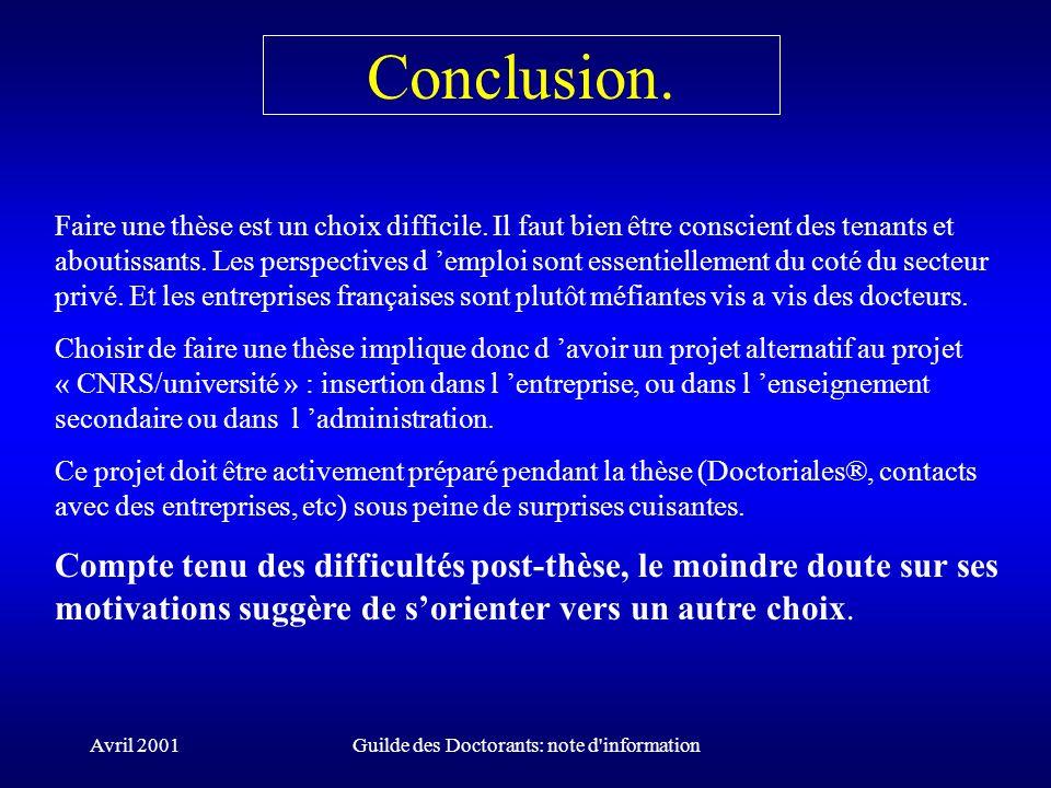 Avril 2001Guilde des Doctorants: note d'information Conclusion. Faire une thèse est un choix difficile. Il faut bien être conscient des tenants et abo