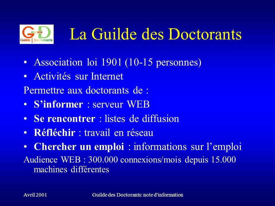 Avril 2001Guilde des Doctorants: note d information Le devenir des docteurs Données disponibles : Statistiques du Ministère (via les DEA) Devenir des docteurs en février qui suit la soutenance, puis un an et deux ans plus tard.