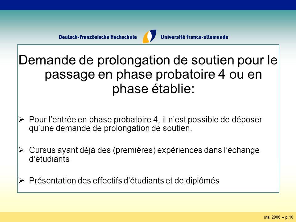 mai 2008 – p.10 Demande de prolongation de soutien pour le passage en phase probatoire 4 ou en phase établie: Pour lentrée en phase probatoire 4, il n