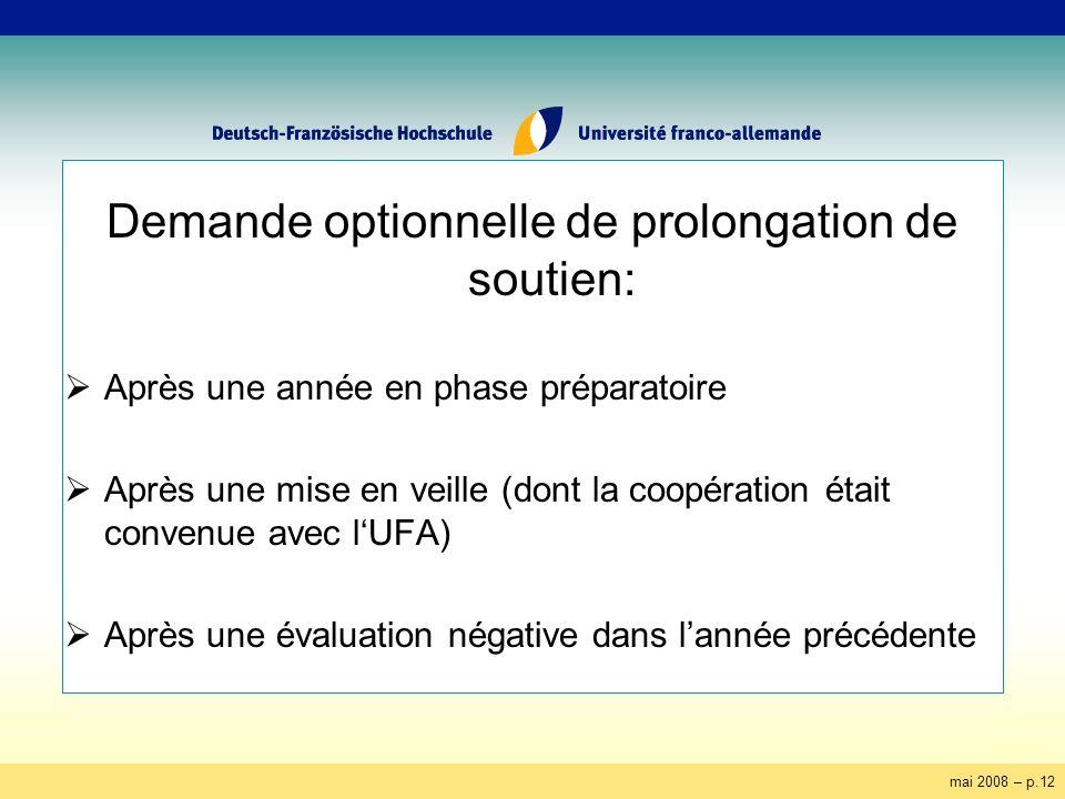 mai 2008 – p.12 Demande optionnelle de prolongation de soutien: Après une année en phase préparatoire Après une mise en veille (dont la coopération ét