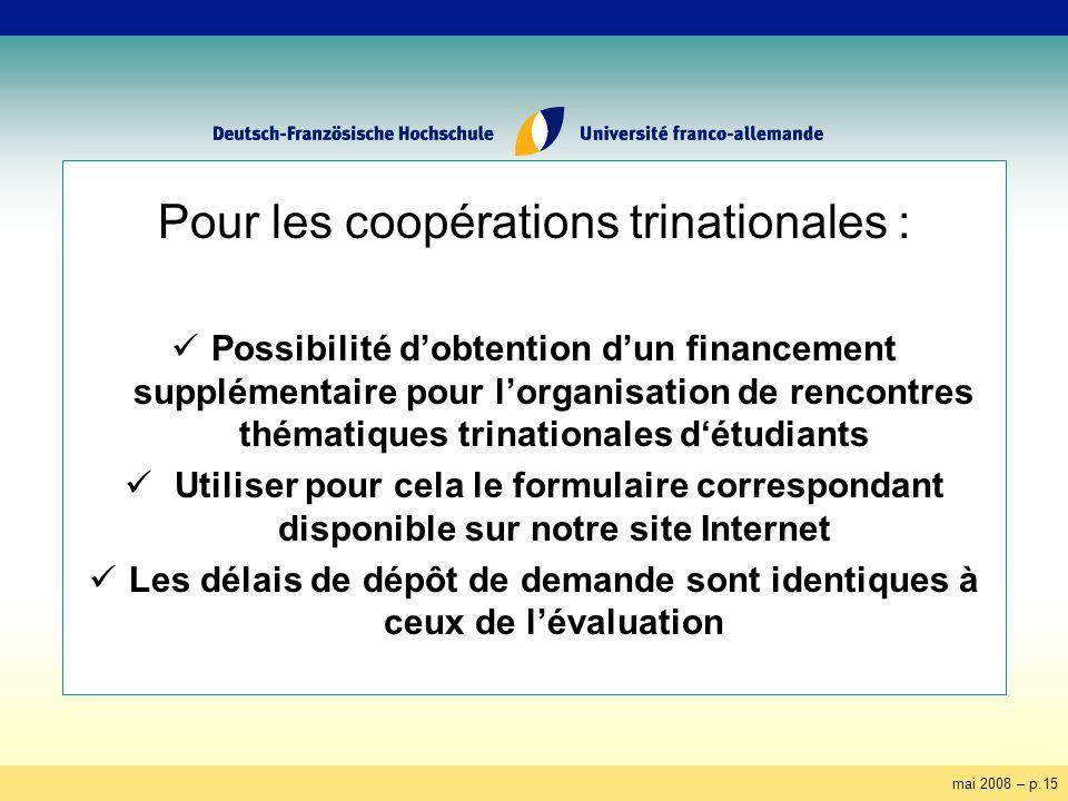 mai 2008 – p.15 Pour les coopérations trinationales : Possibilité dobtention dun financement supplémentaire pour lorganisation de rencontres thématiqu