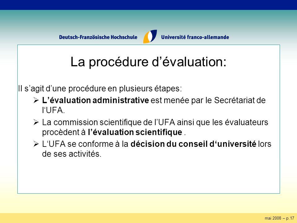 mai 2008 – p.17 La procédure dévaluation: Il sagit dune procédure en plusieurs étapes: Lévaluation administrative est menée par le Secrétariat de lUFA