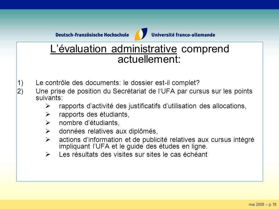 mai 2008 – p.18 Lévaluation administrative comprend actuellement: 1)Le contrôle des documents: le dossier est-il complet? 2)Une prise de position du S