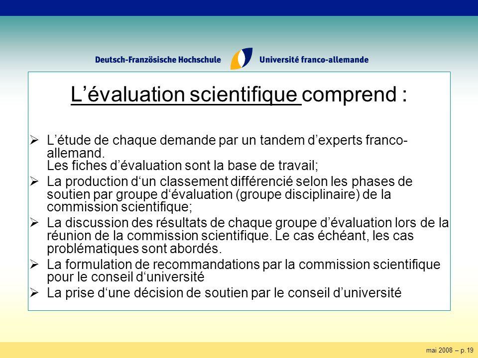 mai 2008 – p.19 Lévaluation scientifique comprend : Létude de chaque demande par un tandem dexperts franco- allemand. Les fiches dévaluation sont la b