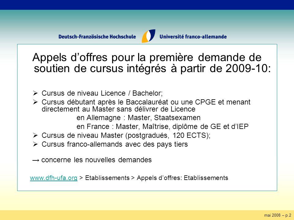 mai 2008 – p.2 Appels doffres pour la première demande de soutien de cursus intégrés à partir de 2009-10: Cursus de niveau Licence / Bachelor; Cursus