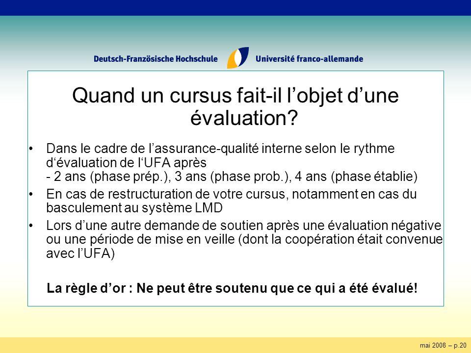 mai 2008 – p.20 Quand un cursus fait-il lobjet dune évaluation? Dans le cadre de lassurance-qualité interne selon le rythme dévaluation de lUFA après