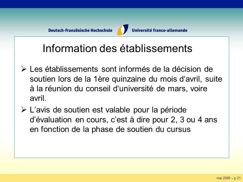 mai 2008 – p.21 Information des établissements Les établissements sont informés de la décision de soutien lors de la 1ère quinzaine du mois davril, suite à la réunion du conseil duniversité de mars, voire avril.