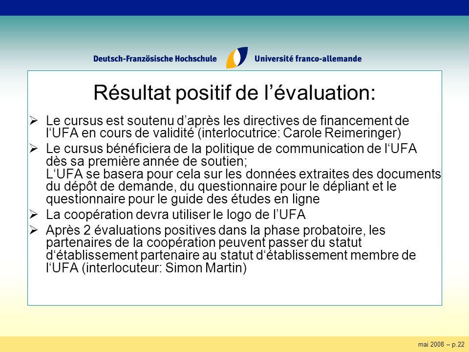 mai 2008 – p.22 Résultat positif de lévaluation: Le cursus est soutenu daprès les directives de financement de lUFA en cours de validité (interlocutri