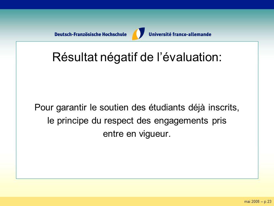 mai 2008 – p.23 Résultat négatif de lévaluation: Pour garantir le soutien des étudiants déjà inscrits, le principe du respect des engagements pris ent