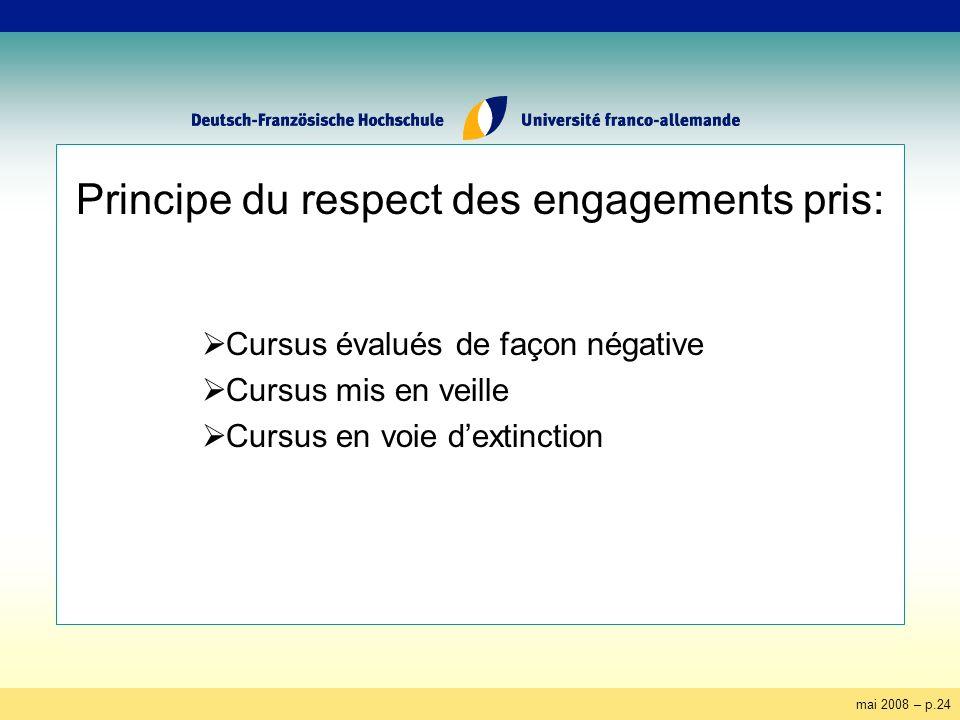 mai 2008 – p.24 Principe du respect des engagements pris: Cursus évalués de façon négative Cursus mis en veille Cursus en voie dextinction