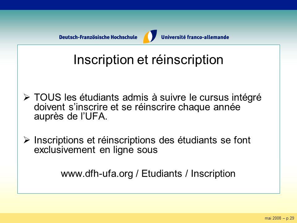 mai 2008 – p.29 Inscription et réinscription TOUS les étudiants admis à suivre le cursus intégré doivent sinscrire et se réinscrire chaque année auprès de lUFA.