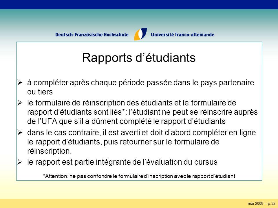 mai 2008 – p.32 Rapports détudiants à compléter après chaque période passée dans le pays partenaire ou tiers le formulaire de réinscription des étudia