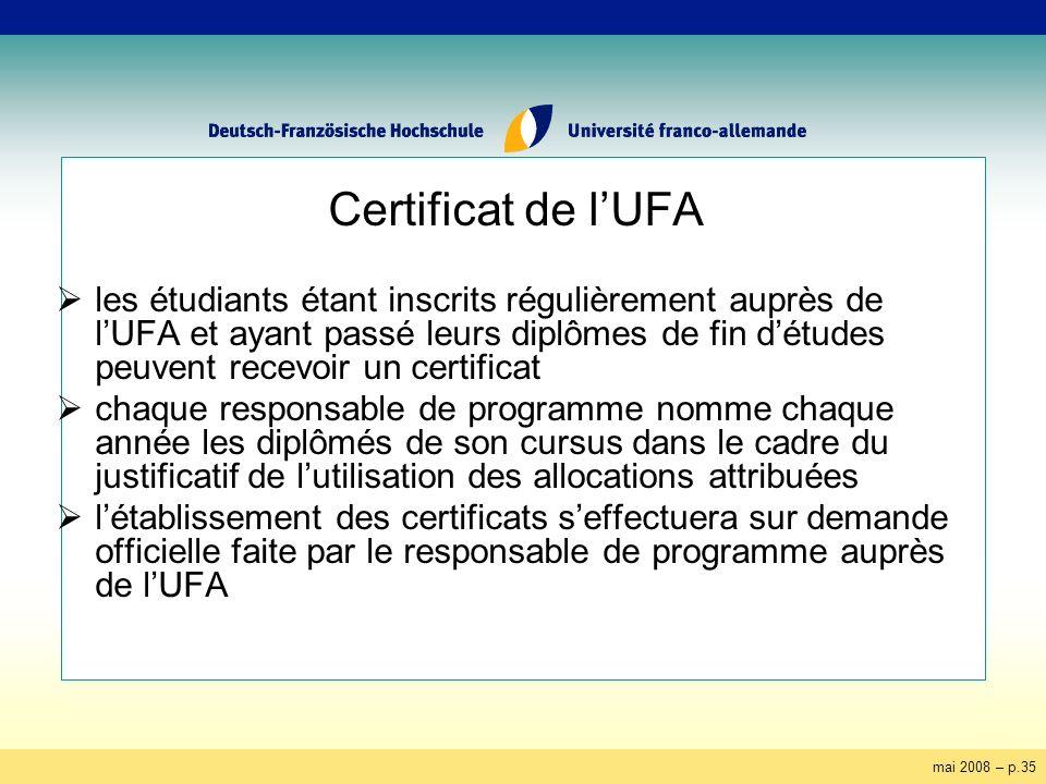 mai 2008 – p.35 Certificat de lUFA les étudiants étant inscrits régulièrement auprès de lUFA et ayant passé leurs diplômes de fin détudes peuvent rece