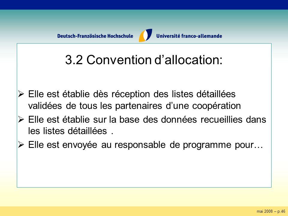 mai 2008 – p.46 3.2 Convention dallocation: Elle est établie dès réception des listes détaillées validées de tous les partenaires dune coopération Elle est établie sur la base des données recueillies dans les listes détaillées.