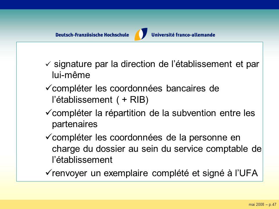 mai 2008 – p.47 signature par la direction de létablissement et par lui-même compléter les coordonnées bancaires de létablissement ( + RIB) compléter la répartition de la subvention entre les partenaires compléter les coordonnées de la personne en charge du dossier au sein du service comptable de létablissement renvoyer un exemplaire complété et signé à lUFA