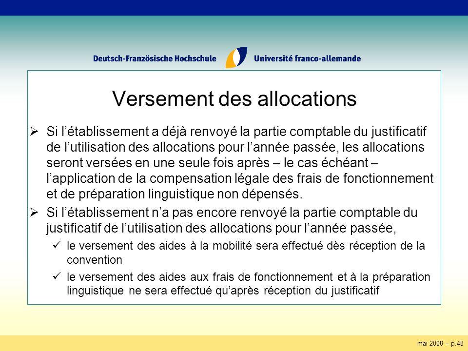 mai 2008 – p.48 Versement des allocations Si létablissement a déjà renvoyé la partie comptable du justificatif de lutilisation des allocations pour la