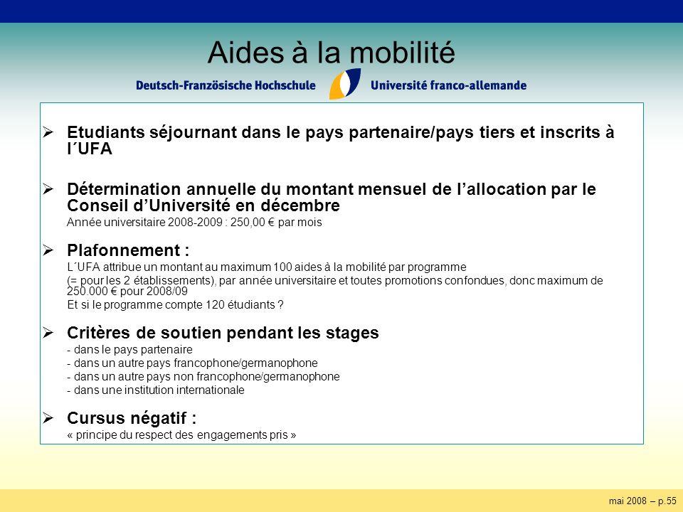 mai 2008 – p.55 Aides à la mobilité Etudiants séjournant dans le pays partenaire/pays tiers et inscrits à l´UFA Détermination annuelle du montant mens