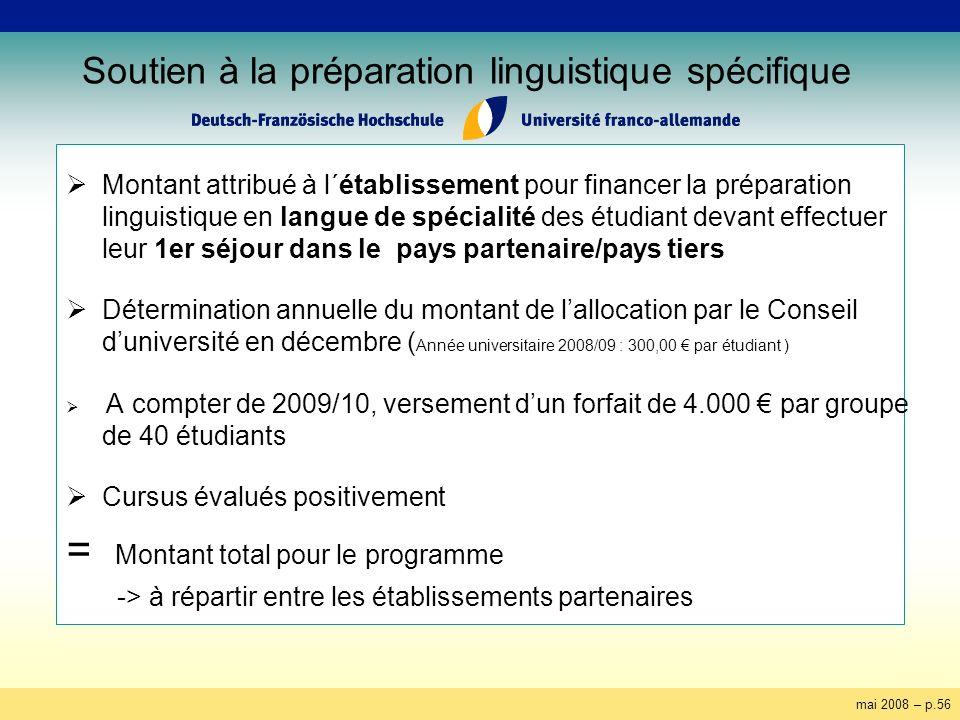 mai 2008 – p.56 Soutien à la préparation linguistique spécifique Montant attribué à l´établissement pour financer la préparation linguistique en langu