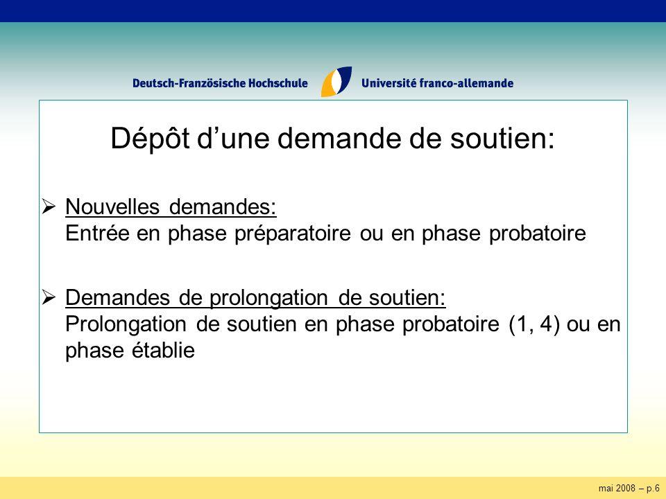 mai 2008 – p.6 Dépôt dune demande de soutien: Nouvelles demandes: Entrée en phase préparatoire ou en phase probatoire Demandes de prolongation de soutien: Prolongation de soutien en phase probatoire (1, 4) ou en phase établie