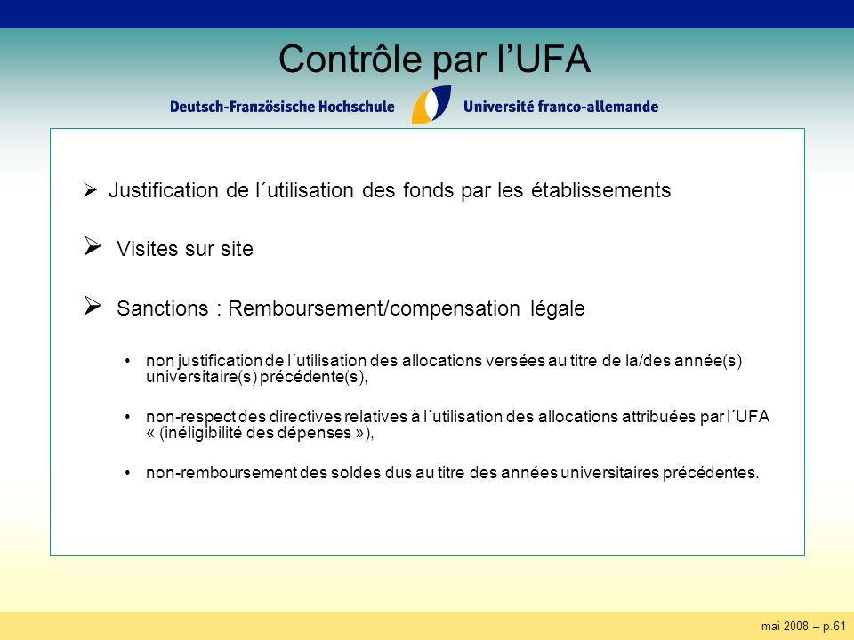 mai 2008 – p.61 Contrôle par lUFA Justification de l´utilisation des fonds par les établissements Visites sur site Sanctions : Remboursement/compensat