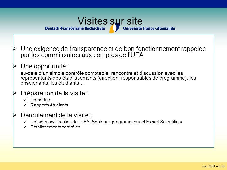 mai 2008 – p.64 Visites sur site Une exigence de transparence et de bon fonctionnement rappelée par les commissaires aux comptes de lUFA Une opportuni