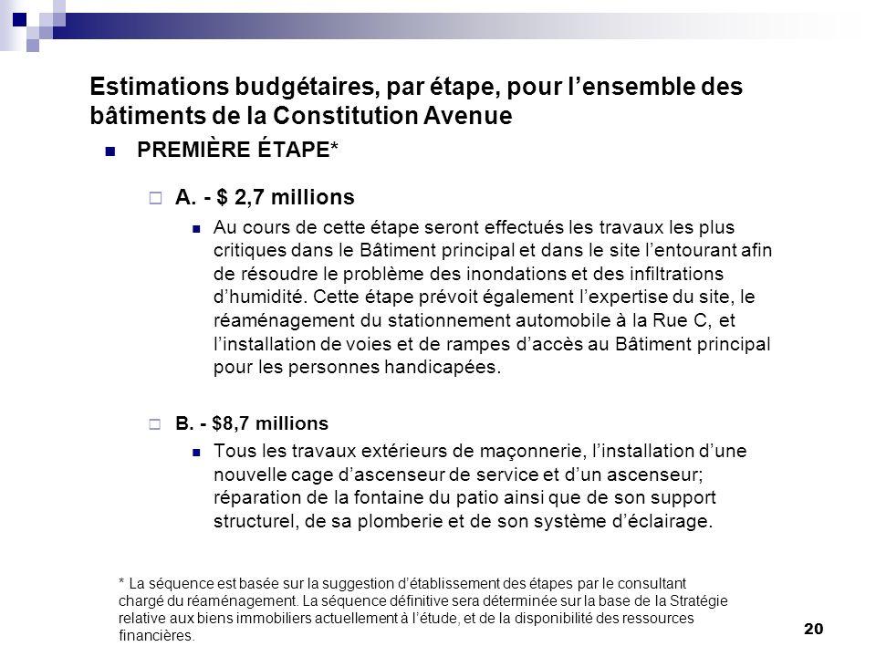 20 Estimations budgétaires, par étape, pour lensemble des bâtiments de la Constitution Avenue PREMIÈRE ÉTAPE* A.
