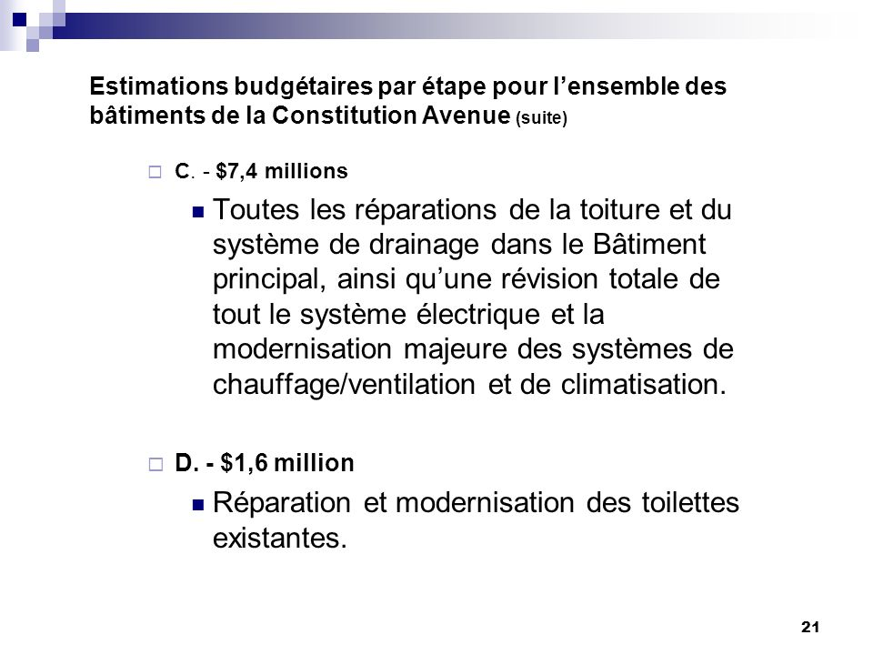 21 Estimations budgétaires par étape pour lensemble des bâtiments de la Constitution Avenue (suite) C.