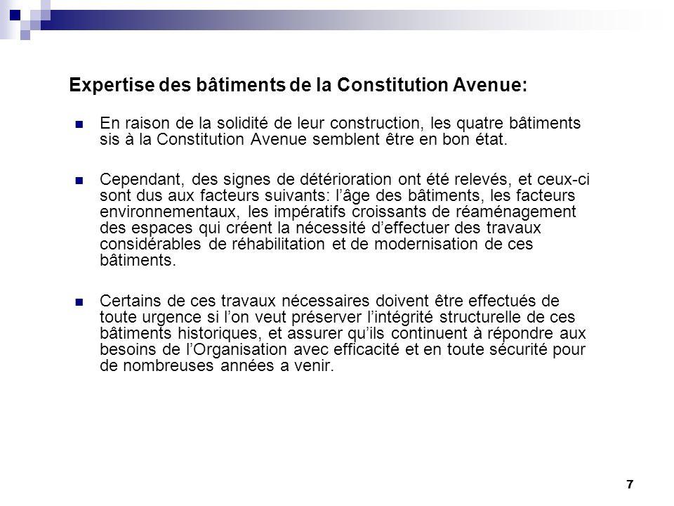 7 Expertise des bâtiments de la Constitution Avenue: En raison de la solidité de leur construction, les quatre bâtiments sis à la Constitution Avenue semblent être en bon état.