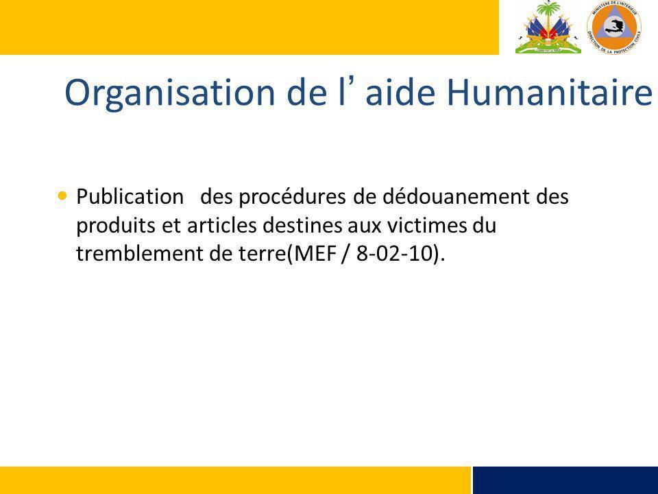 Organisation de l aide Humanitaire Publication des procédures de dédouanement des produits et articles destines aux victimes du tremblement de terre(M