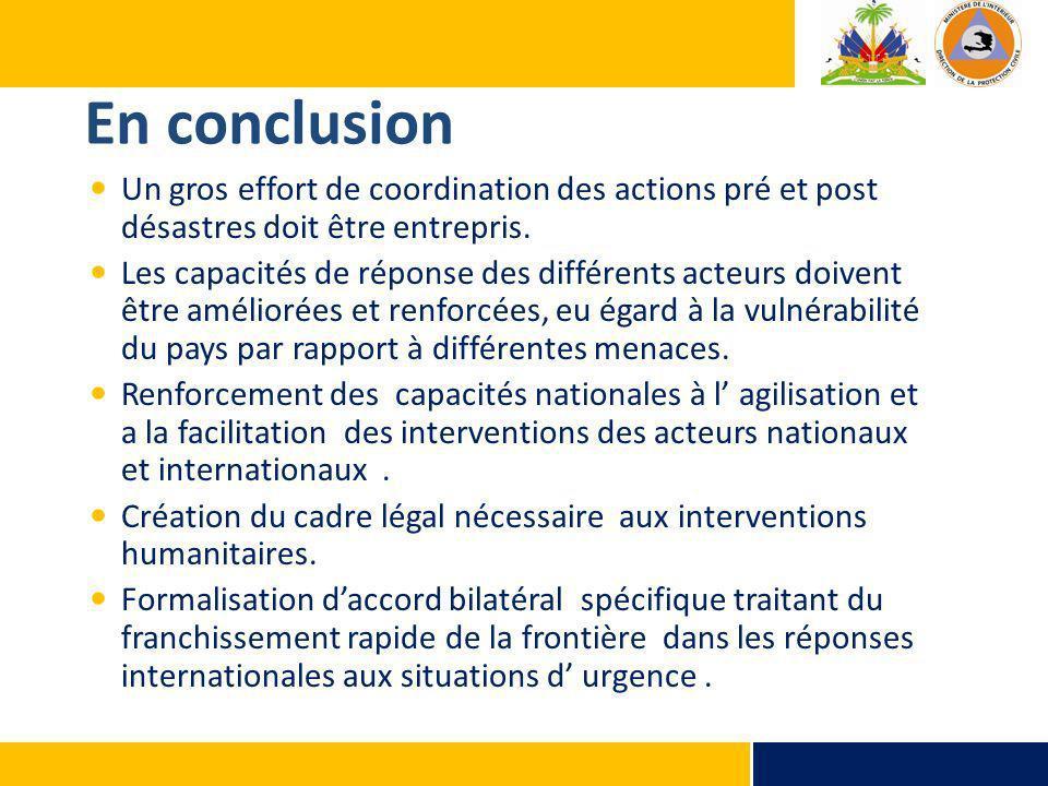 En conclusion Un gros effort de coordination des actions pré et post désastres doit être entrepris. Les capacités de réponse des différents acteurs do