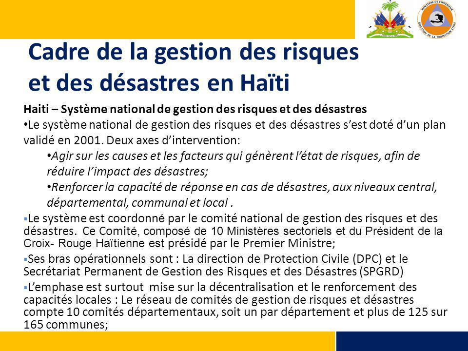 Cadre de la gestion des risques et des désastres en Haïti Haiti – Système national de gestion des risques et des désastres Le système national de gestion des risques et des désastres sest doté dun plan validé en 2001.