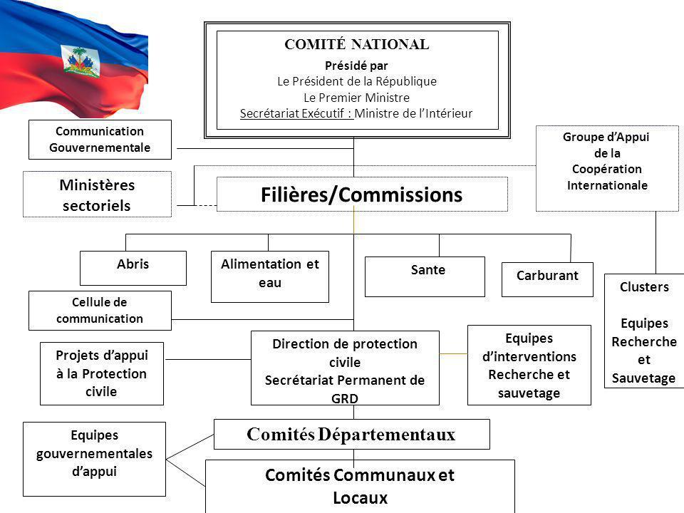 COMITÉ NATIONAL Présidé par Le Président de la République Le Premier Ministre Secrétariat Exécutif : Ministre de lIntérieur Comités Départementaux Com