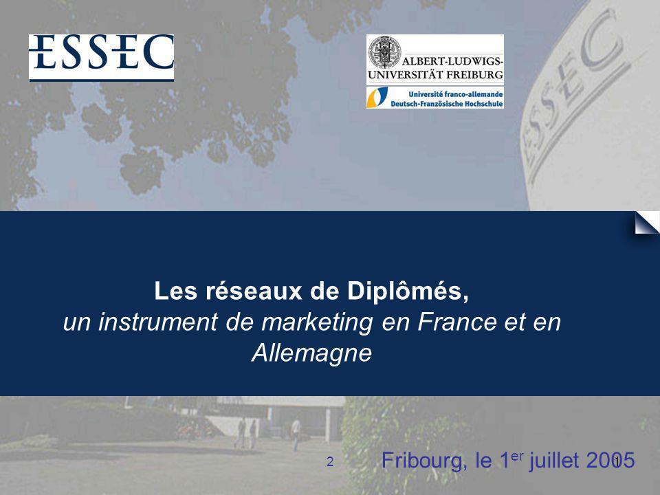 21 Fribourg, le 1 er juillet 2005 Les réseaux de Diplômés, un instrument de marketing en France et en Allemagne
