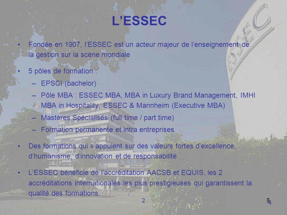 25 LESSEC Fondée en 1907, lESSEC est un acteur majeur de lenseignement de la gestion sur la scène mondiale 5 pôles de formation : –EPSCI (bachelor) –P