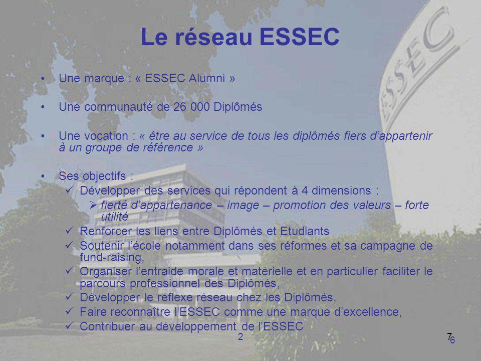 27 Le réseau ESSEC Une marque : « ESSEC Alumni » Une communauté de 26 000 Diplômés Une vocation : « être au service de tous les diplômés fiers dappart