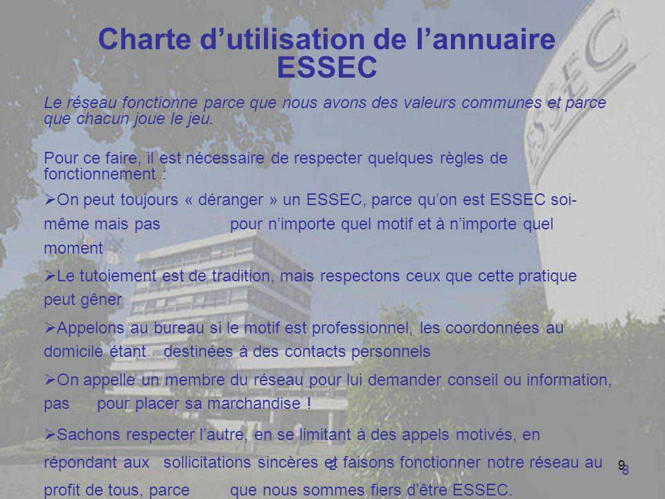 29 Charte dutilisation de lannuaire ESSEC Le réseau fonctionne parce que nous avons des valeurs communes et parce que chacun joue le jeu. Pour ce fair