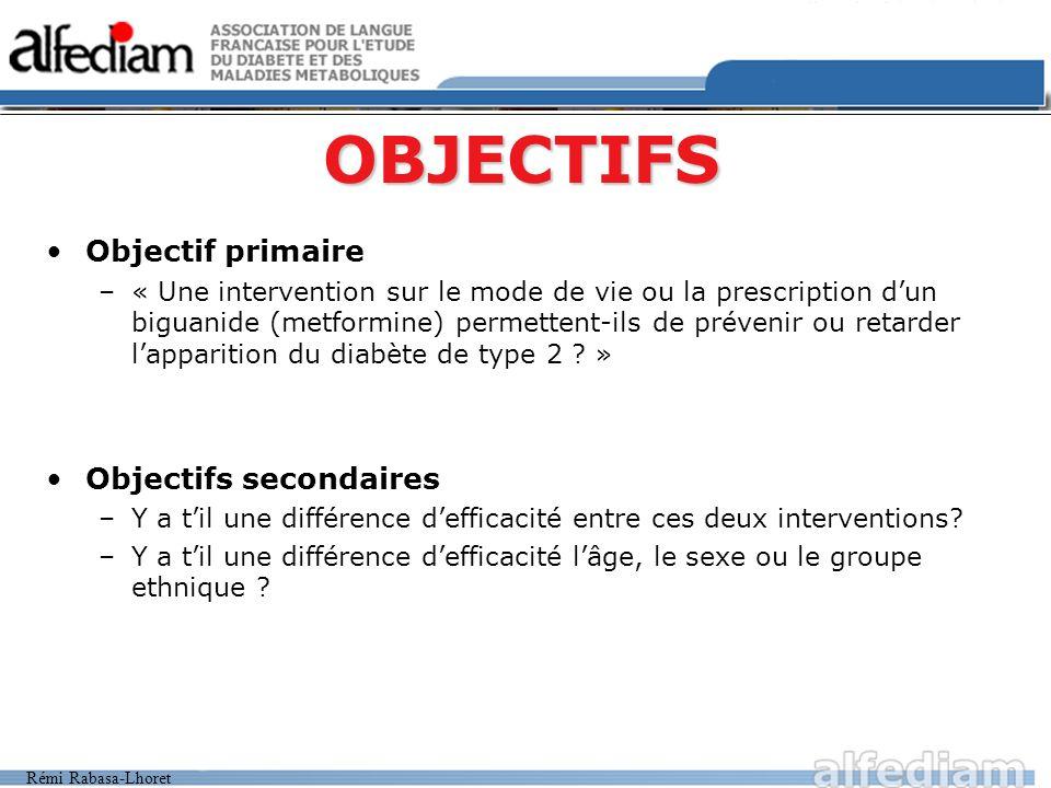 Rémi Rabasa-Lhoret OBJECTIFS Objectif primaire –« Une intervention sur le mode de vie ou la prescription dun biguanide (metformine) permettent-ils de