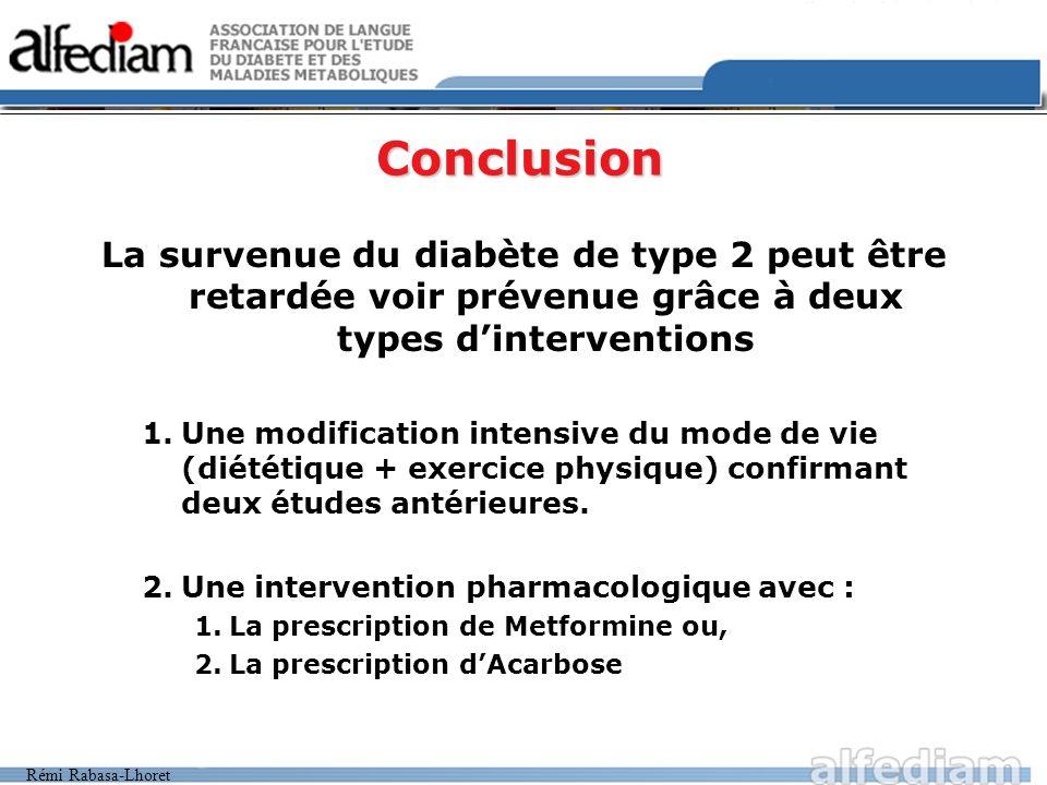 Rémi Rabasa-Lhoret Conclusion La survenue du diabète de type 2 peut être retardée voir prévenue grâce à deux types dinterventions 1.Une modification i