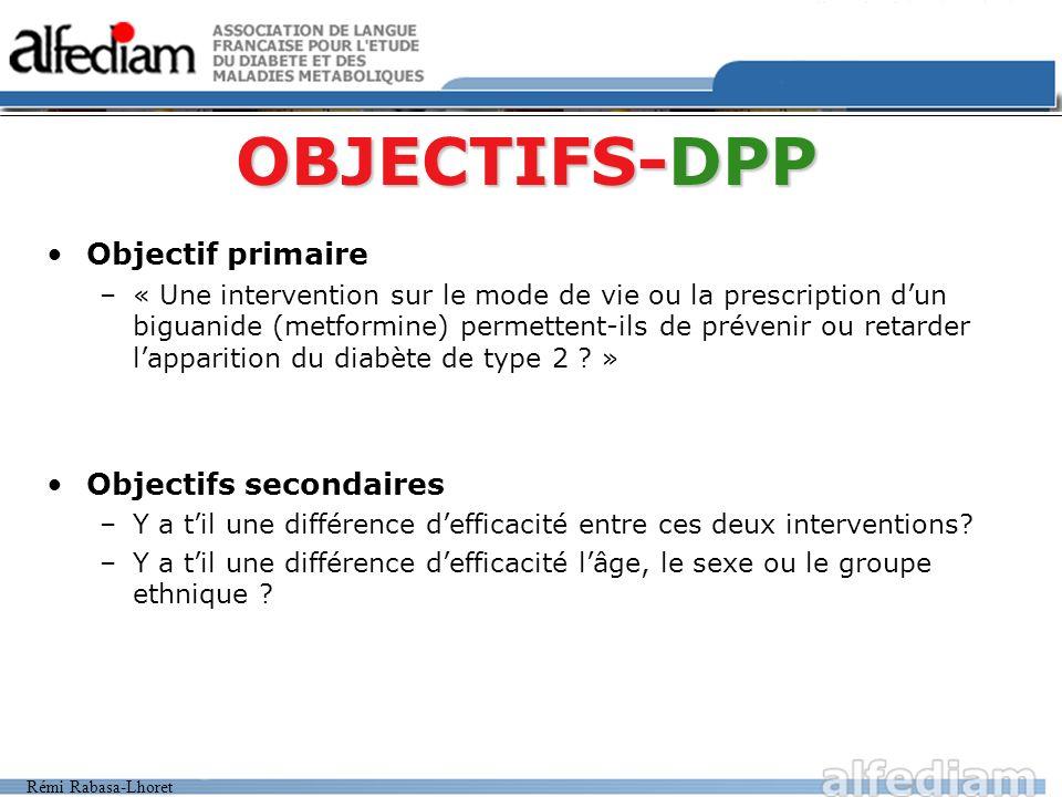 Rémi Rabasa-Lhoret >25 ans et, >24 kg/m2, 22 si origine asiatique et, Glycémie à jeun: 0,95 à 1,25g/l (5,3 à 6,7mmol/l) et, Glycémie 2h HGPO: 1,4 à 1,99g/l (7,8 à 11mmol/l) Recommandations / Mode de vie + Placebo 30 conseils personnalisés Recommandations / Mode de vie Metformine + Metformine (850 mg x2/j) 30 conseils personnalisés Modifications intensives / Mode de vie 7% du poids Activité physique (150 min/semaine; modéré) 16 cours en 6 mois Puis mensuel : 67% Âge : 51±11 ans IMC: 34 ±7 Glyc à J: 1,06 g/l Glyc 2h: 1,65 g/l N = 3234 N = 1082N = 1073N = 1079 Conversion diabète de type 2 .