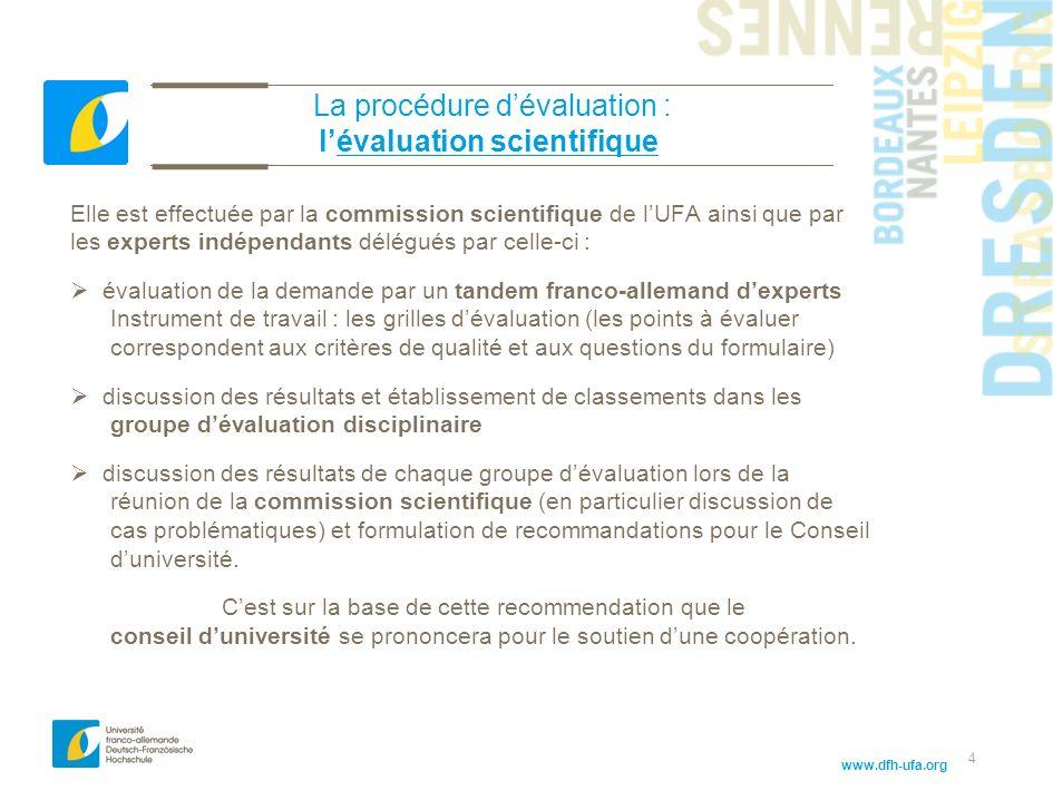 www.dfh-ufa.org 4 La procédure dévaluation : lévaluation scientifique Elle est effectuée par la commission scientifique de lUFA ainsi que par les expe