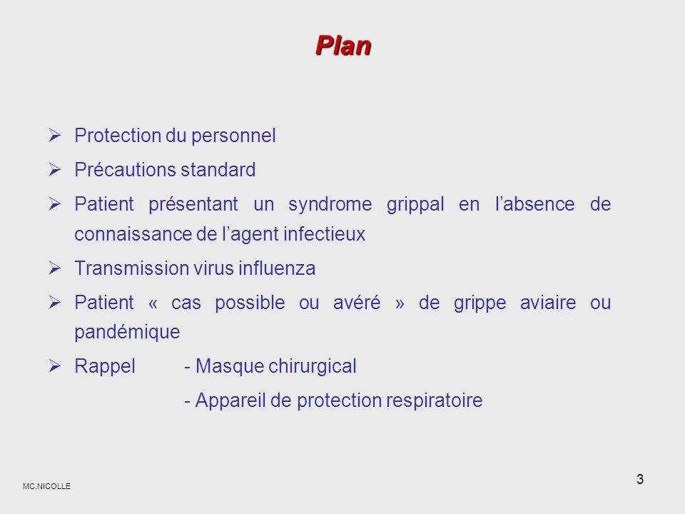 MC.NICOLLE 14 Au contact de patient « cas possible ou avéré » de grippe aviaire ou pandémique Précautions standard renforcées Déchets - Eliminer tous les déchets en sac jaune (D.A.S.R.I.