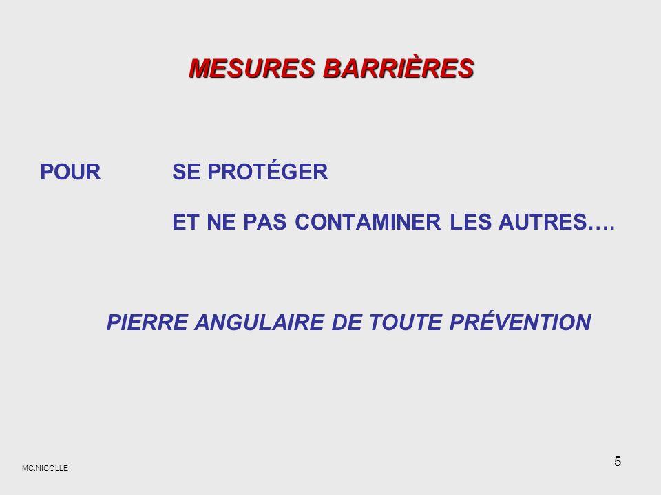 MC.NICOLLE 26 En conclusion, En conclusion, Les mesures barrières : sappuient sur lévaluation des risques :.