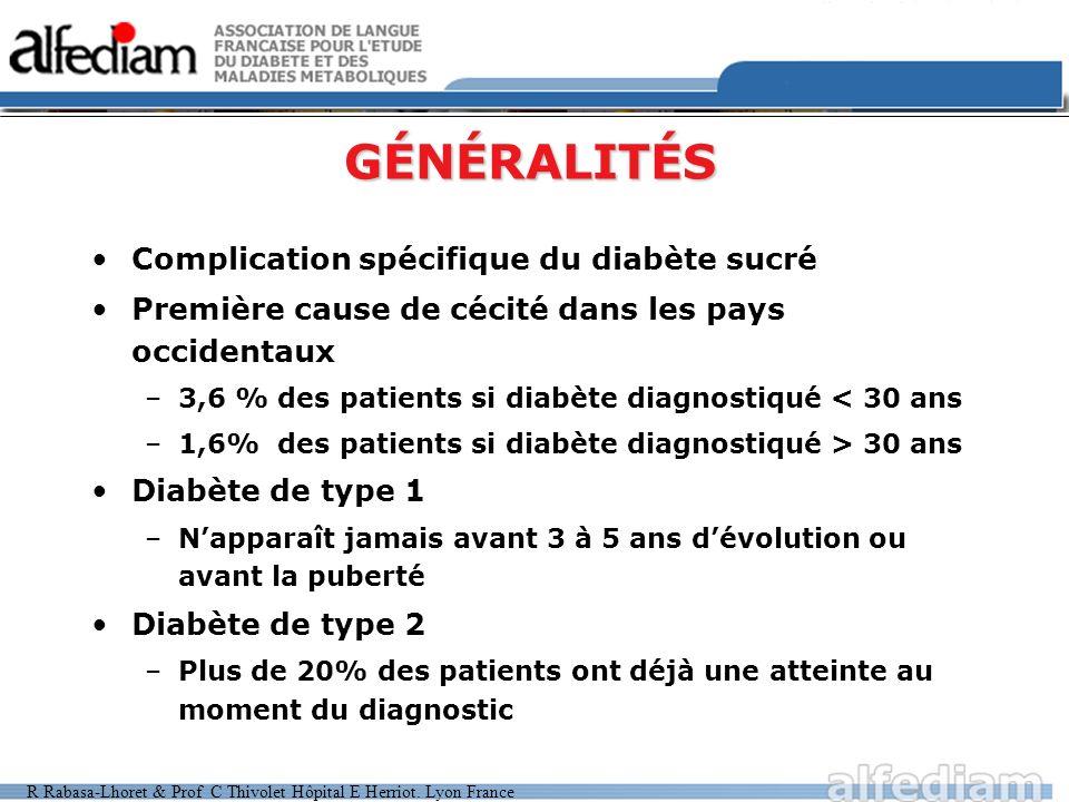R Rabasa-Lhoret & Prof C Thivolet Hôpital E Herriot. Lyon France GÉNÉRALITÉS Complication spécifique du diabète sucré Première cause de cécité dans le
