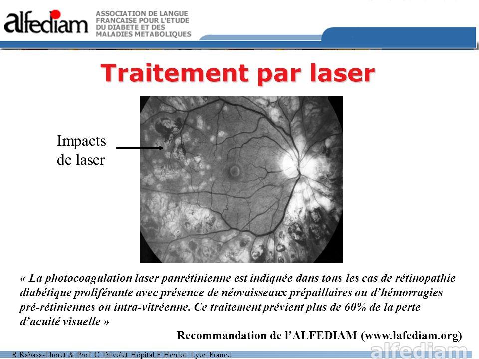 R Rabasa-Lhoret & Prof C Thivolet Hôpital E Herriot. Lyon France Traitement par laser Impacts de laser « La photocoagulation laser panrétinienne est i