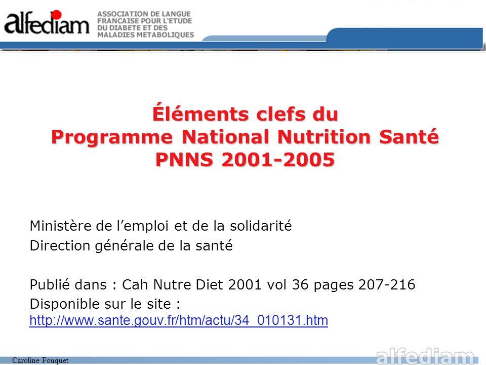 Caroline Fouquet Éléments clefs du Programme National Nutrition Santé PNNS 2001-2005 Ministère de lemploi et de la solidarité Direction générale de la
