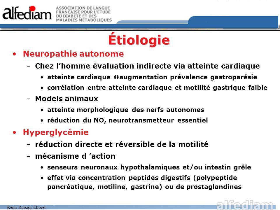 Rémi Rabasa-Lhoret Étiologie Neuropathie autonome –Chez lhomme évaluation indirecte via atteinte cardiaque atteinte cardiaque augmentation prévalence