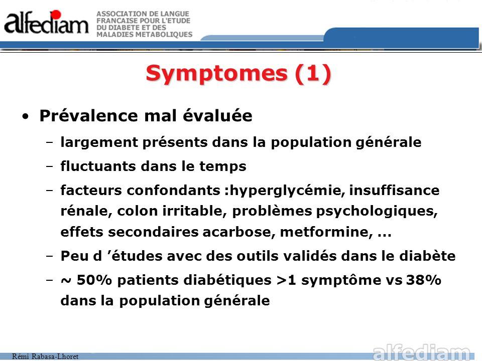 Rémi Rabasa-Lhoret Symptomes (1) Prévalence mal évaluée –largement présents dans la population générale –fluctuants dans le temps –facteurs confondant