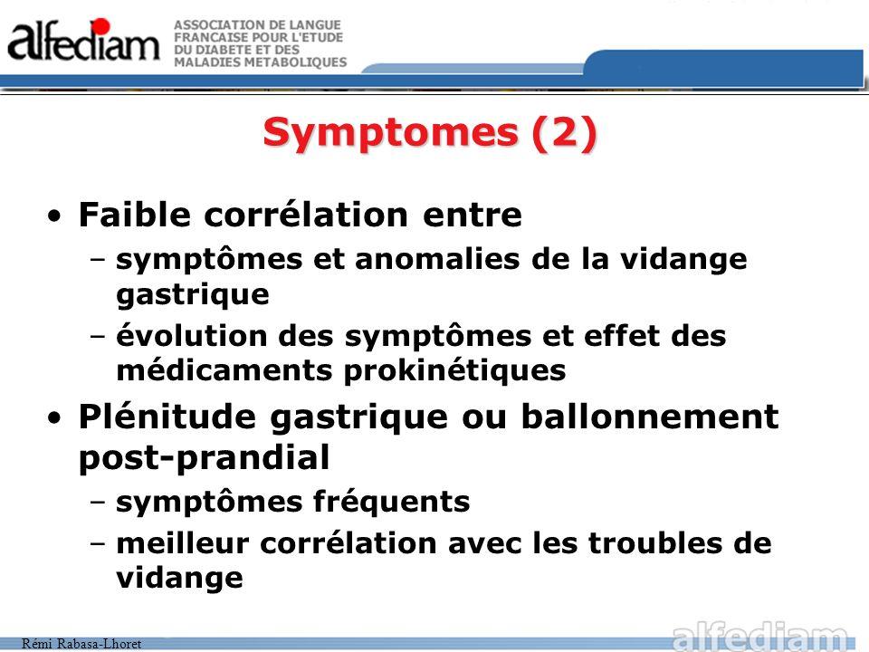Rémi Rabasa-Lhoret Faible corrélation entre –symptômes et anomalies de la vidange gastrique –évolution des symptômes et effet des médicaments prokinét