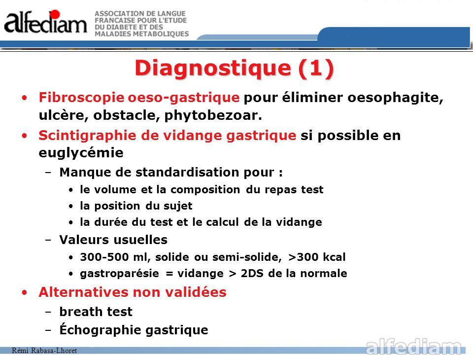 Rémi Rabasa-Lhoret Diagnostique (1) Fibroscopie oeso-gastrique pour éliminer oesophagite, ulcère, obstacle, phytobezoar. Scintigraphie de vidange gast