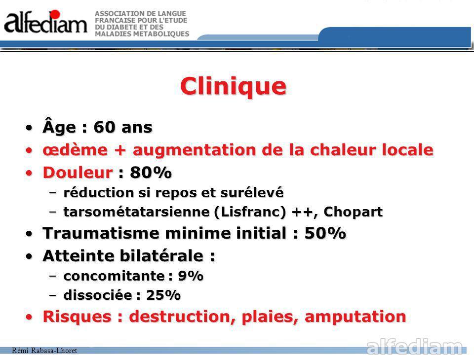 Rémi Rabasa-Lhoret Clinique Âge : 60 ansÂge : 60 ans œdème + augmentation de la chaleur localeœdème + augmentation de la chaleur locale Douleur : 80%D